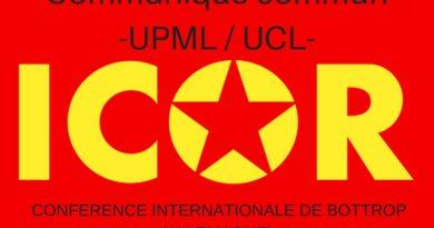 Communiqué commun de l'UPML et d' l'UCL. Meeting de l'ICOR – 100 ans de la Révolution d'Octobre.