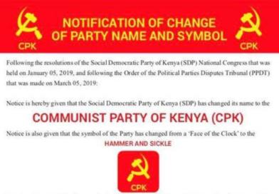 L'Etat Kenyan refuse d'accorder au Parti Communiste du Kenya (C.P.K.) son nom !
